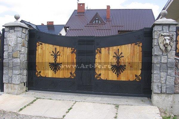 Кованые ворота, откатные ворота, распашные ворота, гаражные ворота.